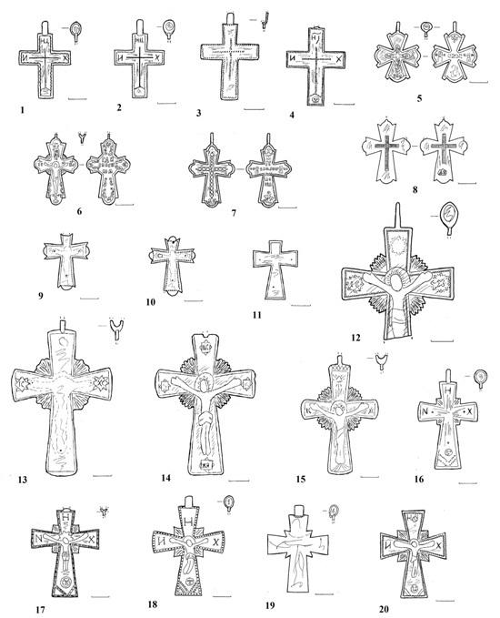 Варіанти запорозьких хрестів і хрестів запорозької традиції XVIIІ–ХІХ ст.